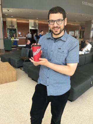 Eli with his Horton's coffee, Eh?
