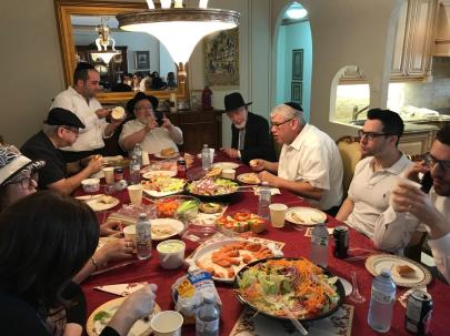 At the Yahrzeit Seudah.