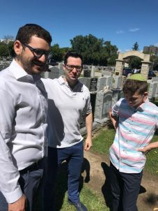 In the cemetery with Cousin Hillel and Cousin Shimmy.